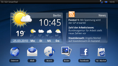 1&1 SmartPad: Homescreen mit Widgets