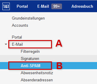 1&1 Webmailer: 1&1 Anti-Spam Optionen