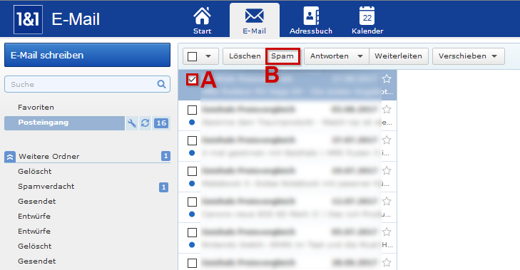 1 1 hilfe center spam e mails verwalten im 1 1 webmailer. Black Bedroom Furniture Sets. Home Design Ideas