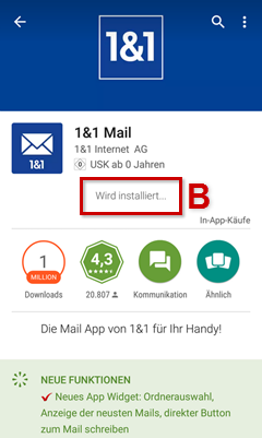 Installation der 1&1 Mail-App