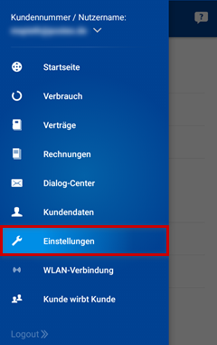 Einstellungen in der 1&1 Control-Center-App