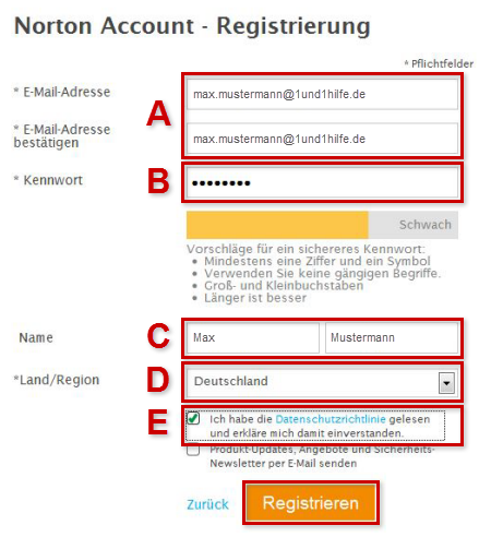 Norton Account: Registrierung