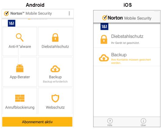 1&1 Hilfe Center - Norton Mobile Security aus Norton 360 Multi-Device