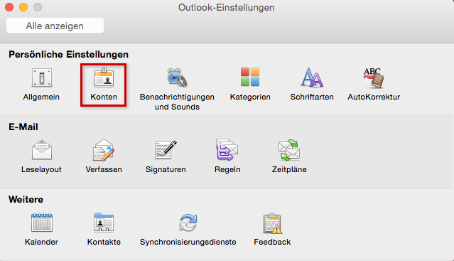 Outlook-Einstellungen > Konten