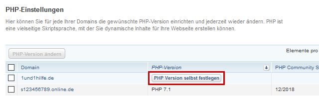 PHP-Version eindeutig festlegen