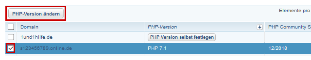 PHP-Version ändern