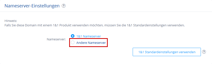 Option 'Andere Nameserver'