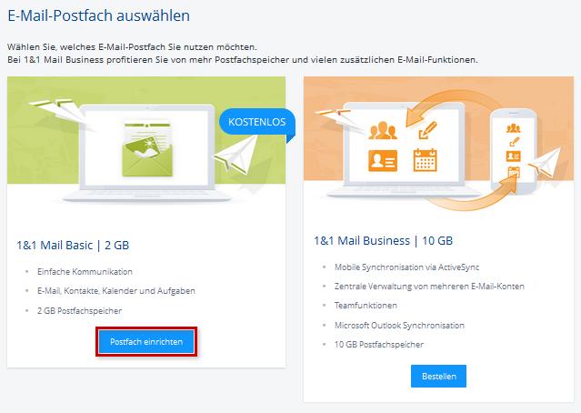 hosting mail office basic einrichtung adresse control center einrichten