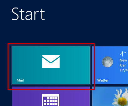 Windows 8 Mail starten