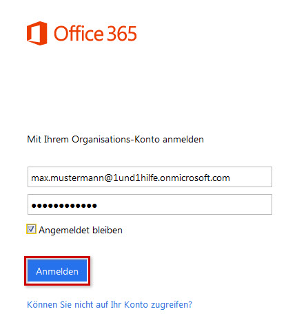 Login bei Office 365
