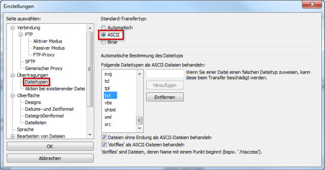 ASCII als Standard-Transfertyp setzen