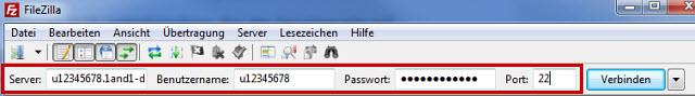 FTP-Verbindung zum Webspace starten