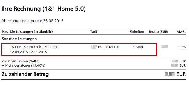 1 1 php extended support auf der rechnung erkennen 1 1. Black Bedroom Furniture Sets. Home Design Ideas